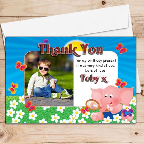10 Personalised Cute Elephant Birthday Thank you PHOTO Cards N115
